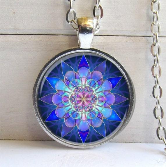 Mandala Pendant, Mandala Art Necklace Soothing Blue Mandala, Yoga Jewelry