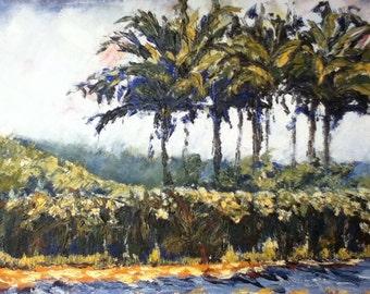 "Costa Rican palms original oil on canvas  12""x 9"""