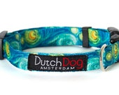Van Gogh Starry Night Fashion Dog Collar - Made From Recycled Webbing