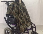 Adult Wheelchair Poncho Coat Cover Blanket, Camo and Black