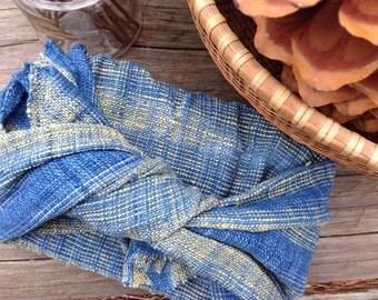Organic handwoven multipurposed tea towel / Furoshiki wrap clothe: Water flow pattern