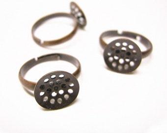 6pcs Antique Copper Adjustable Ring Shanks-8208
