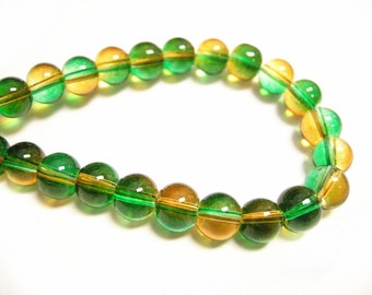 50pc 8mm Spray Painted Transparent Glass Beads-8870