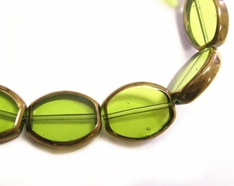 12pc 17x13.5mm copper plated  flat glass beads-9177