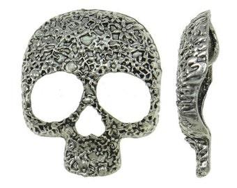 2pc 41x34mm antique silver finish  skull pendant-9335