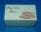 Personalized Recipe Box Decorative Wood Recipe Box Custom Recipe Box Guest Book Box Hand Painted Wedding Bridal Shower Gift Tea Cup 4x6