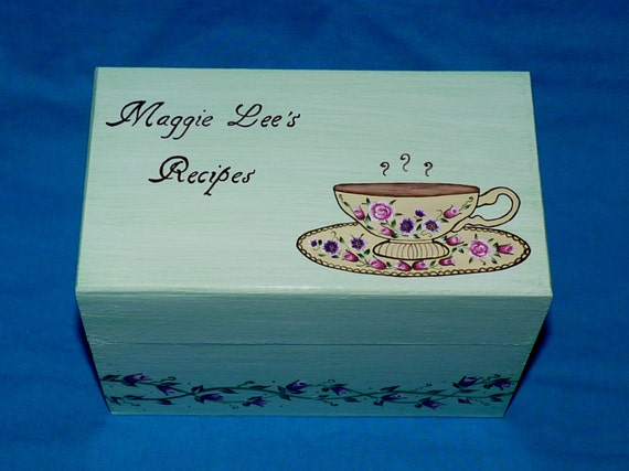 Personalized Recipe Box Decorative Wood Recipe Box Custom Recipe Box Guest Book Box Hand Painted Wedding Bridal Shower Gift Tea Cup 4x6