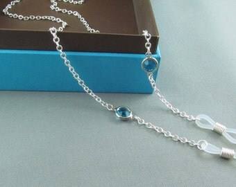 Silver Eye Glasses Chain with Aqua Blue, Chain for Glasses Lanyard, Reading Glasses Chain, Eyeglass Chains, Cord for Readers, Gift for Her