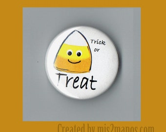 Halloween Corn Candy 1.5 inch Buttons Personalized   Buttons Custom Buttons and Pins