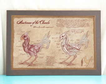 Anatomy of the Chocobo // Final Fantasy Art // Geeky Art Print // Game Art // Geeky Home Decor //  Gift for Geek // Gamer Home