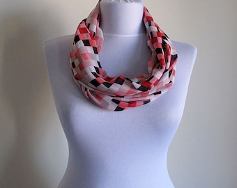 Chiffon Checkers, Checkered Infinity Scarf Colorful, Loop Scarf, Chunky Scarf,  Christmas Gifts, Women Accessories, Scarves