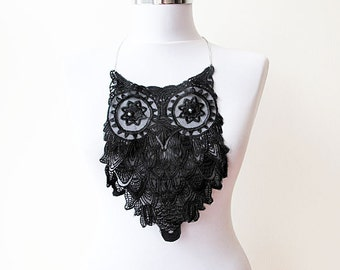 Owl Necklace, Owl Lace Necklace, Black Owl Necklace, Bip, Statement, Jewelry, Necklaces, Collar Necklace