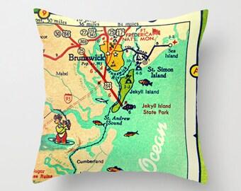 ST SIMONS ISLAND pillow cover, Brunswick Sea Island St Simons map throw pillow, Coastal Pillow Beach throw pillow Georgia map throw pillow