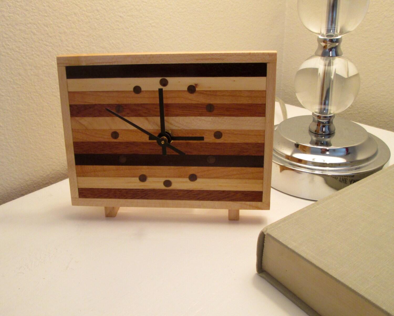 Desk Clock Nightstand Clock Butcher Block Clock Wood