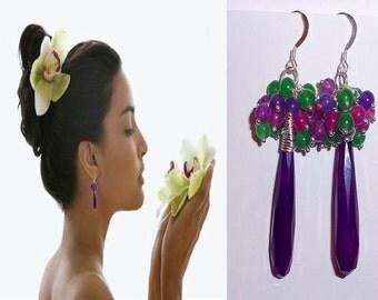 Cluster Earrings, Dangle Earrings, Purple Earrings, Wire Wrapped Earrings, Sterling Silver Gemstone Earrings