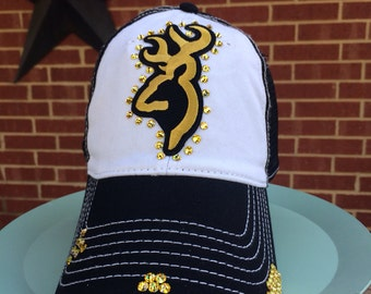 Browning Deer Distressed Baseball Style Hat EXTRA Bling