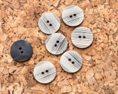 "14 Vintage 7/8"" Plastic 2 Hole Buttons. Brown and Creme Tones. Textured Surface Line Design. Matte Finish. Sewing, Applique. Item 1864P"