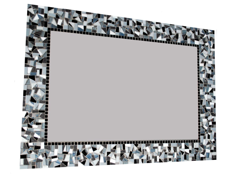 Black White Gray Mosaic Wall Mirror