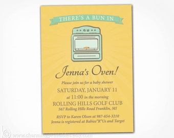 Bun in the Oven Invitation - PRINTABLE Gender Neutral Baby Shower Invite - Gold Yellow and Mint Green