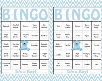 100 Baby Shower Bingo Cards - Printable Party Baby Boy - Instant Download - Baby Blue Chevron Teddy Bear Baby Shower Gift Bingo B028