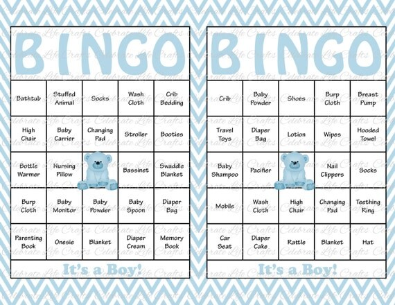 100 Baby Shower Bingo Cards   Printable Party Baby Boy   Instant Download    Baby Blue Chevron Teddy Bear Baby Shower Gift Bingo B028