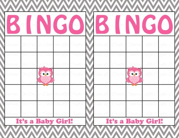 Blank Baby Shower Bingo Cards   Printable Party Baby Boy   Instant Download    Pink Gray Chevron Owl Baby Shower Gift Bingo G007