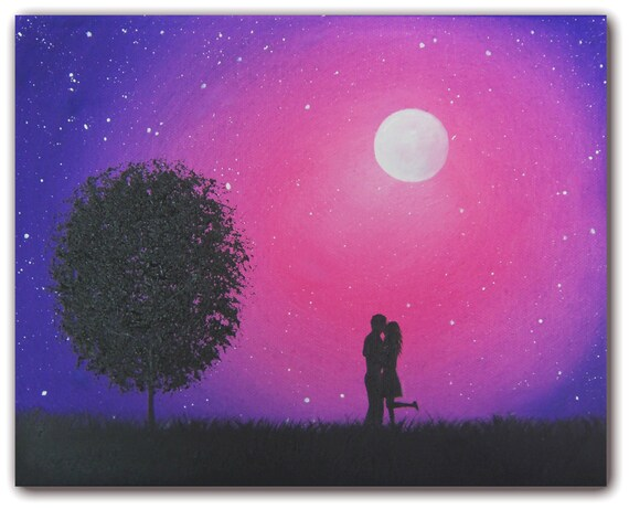 Starry Night Silhouette Art Love Art Oil Painting Original
