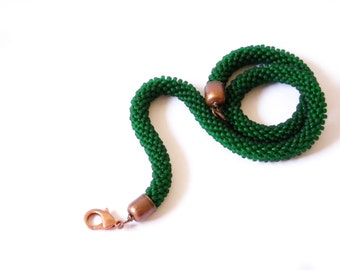 Rope Choker/Emerald Green Choker/Forest green Necklace/Green Bead rope/Crocheted Necklace