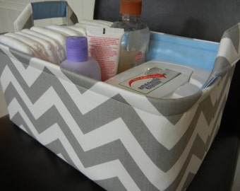 "LG Diaper Caddy(No Divider)-Toy Basket 12"" x 8"" x 6""(choose COLORS)Fabric Storage Organizer-Chevron-baby Gift-""Grey Zigzag"""