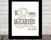 Darling Mr. & Mrs. Monogram Print