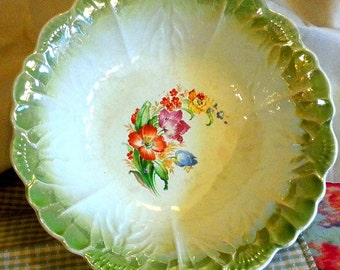Antique Porcelain Luster Bowl with Flowers