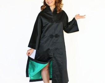 50s black Asian robe by Dynasty. Vintage satin black emerald jacket. Size Small. Asian fashion. Black lined tunic. Unisex robe.