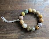 Snakeskin Agate, Pave Rhinestones, Silver Tassel Elastic Bracelet ... Boho Glam. Turquoise, Brown, Green.
