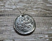 Stamped Love and Pure Silver Antique Wax Seal Necklace on Oxidized Silver Chain ~Romance/Valentines Day