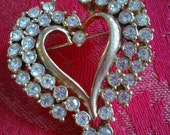 Rhinestone Heart Pin,  Vintage Costume Jewelry
