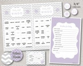 INSTANT DOWNLOAD Baby Shower Games - Purple and Silver Grey