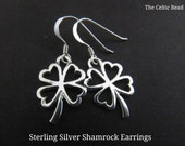 Sterling Silver Irish Small Open Shamrock Earrings
