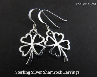 Sterling Silver Irish Small Open Shamrock Earrings