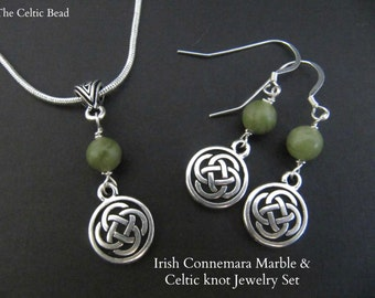 Irish Connemara Marble & Silver Celtic Knot Necklace and Earring Set