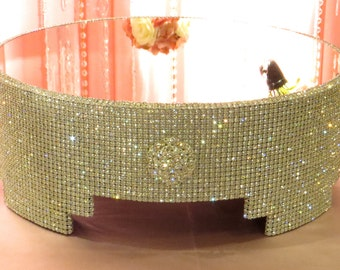 """Crystal and Brooch Cake Stand - 18"""" round with mirror top"""