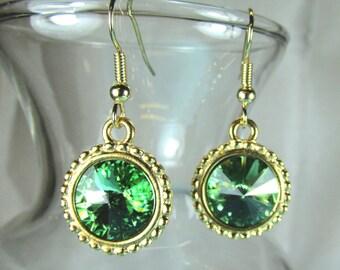 Peridot green Swarovski crystal earrings