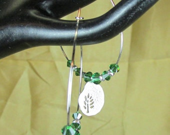 Swarovski crystal moss green and rhodium hoops