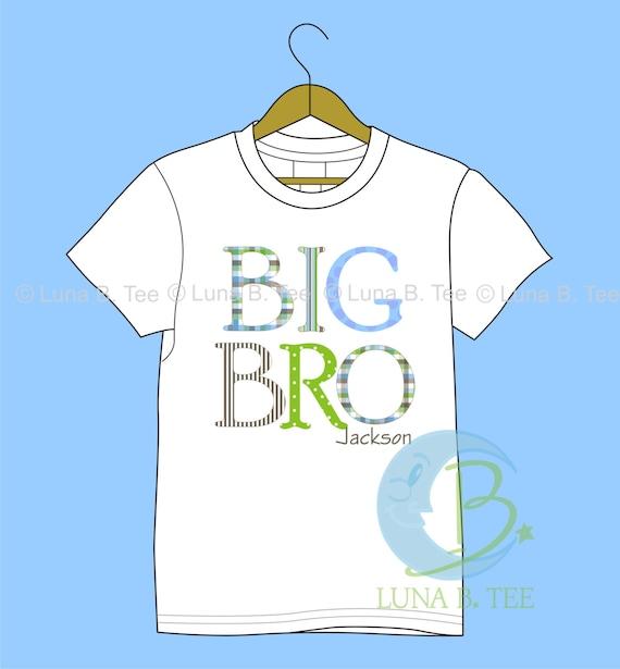 HIGH QUALITY Monag Personalized Big Bro Letters Stripe Polka Dot T Shirt Girls Boys Tee Baby Onesie High Quality Shirt