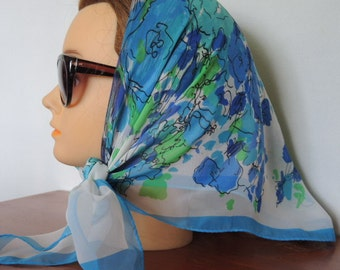Vintage 1960s sheer scarf flowers floral blues greens on white