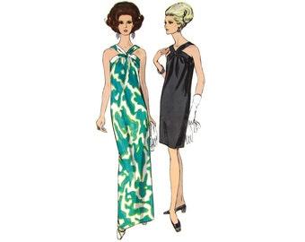 1960s Cocktail Dress Pattern, Vogue 7181, Slim Halter Dress with Twist V Straps, Gathered Front, Vintage Sewing Pattern, Bust 32, Uncut
