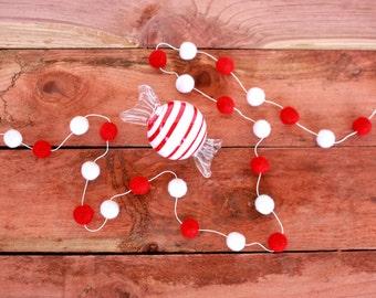 Christmas Felt Ball Garland, Valentine, Pom Pom Garland, Nursery Decor, Bunting Banner, Party Decor