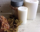 Amber Soy Small White Pillar Candle Amber and Oak Moss Clean Soy Candle