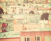 San Francisco Photography, canvas, pastel houses, peach and mint, travel photography, retro, shabby chic, nursery decor, street, urban, fPOE