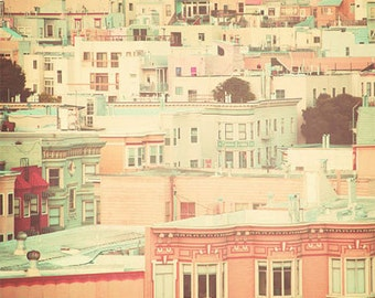 San Francisco Photography, canvas, pastel houses, peach and mint, travel photography, retro, shabby chic, nursery decor, street, urban, fPOE