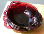 Ruby red, pressed glass, vintage, bowls, set of five ice cream bowls